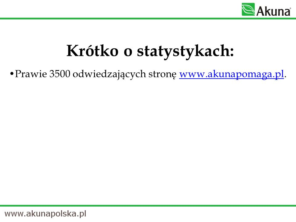 Prawie 3500 odwiedzających stronę www.akunapomaga.pl.www.akunapomaga.pl