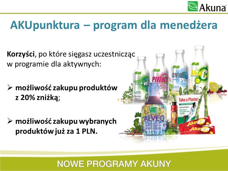 Korzyści, po które sięgasz uczestnicząc w programie dla aktywnych: możliwość zakupu produktów z 20% zniżką; możliwość zakupu wybranych produktów już z
