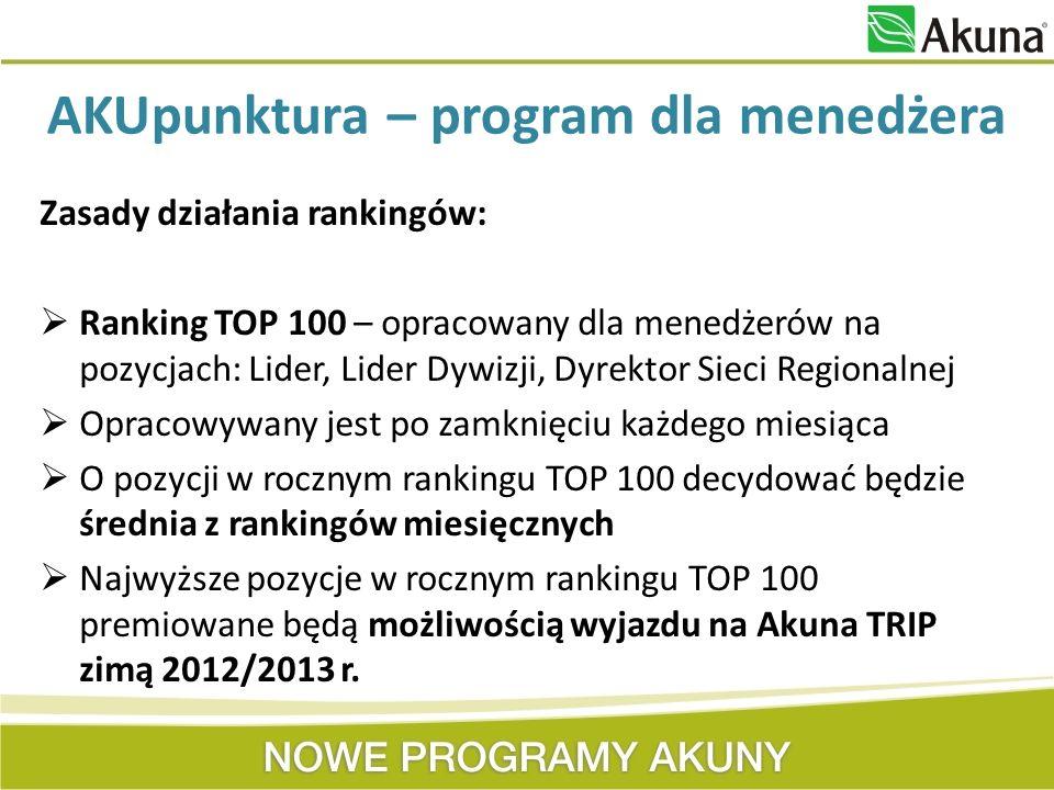 Zasady działania rankingów: Ranking TOP 100 – opracowany dla menedżerów na pozycjach: Lider, Lider Dywizji, Dyrektor Sieci Regionalnej Opracowywany je