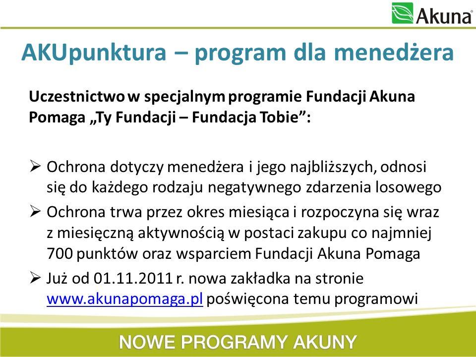 Uczestnictwo w specjalnym programie Fundacji Akuna Pomaga Ty Fundacji – Fundacja Tobie: Ochrona dotyczy menedżera i jego najbliższych, odnosi się do k