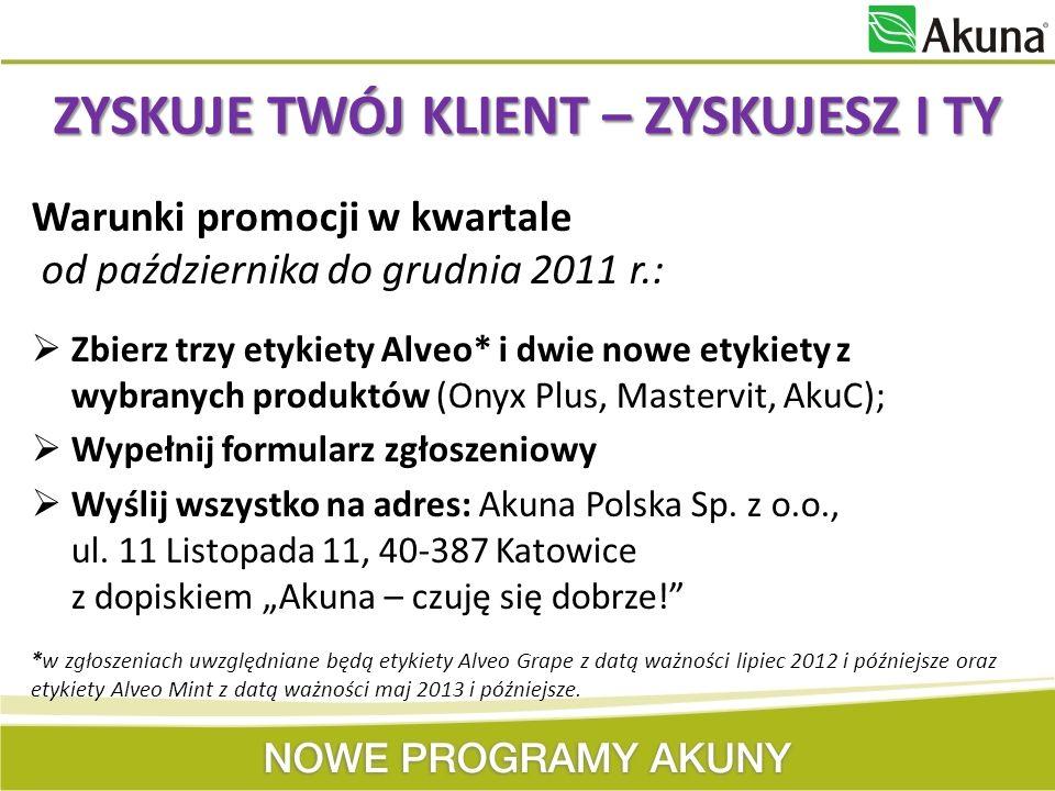 Warunki promocji w kwartale od października do grudnia 2011 r.: Zbierz trzy etykiety Alveo* i dwie nowe etykiety z wybranych produktów (Onyx Plus, Mas