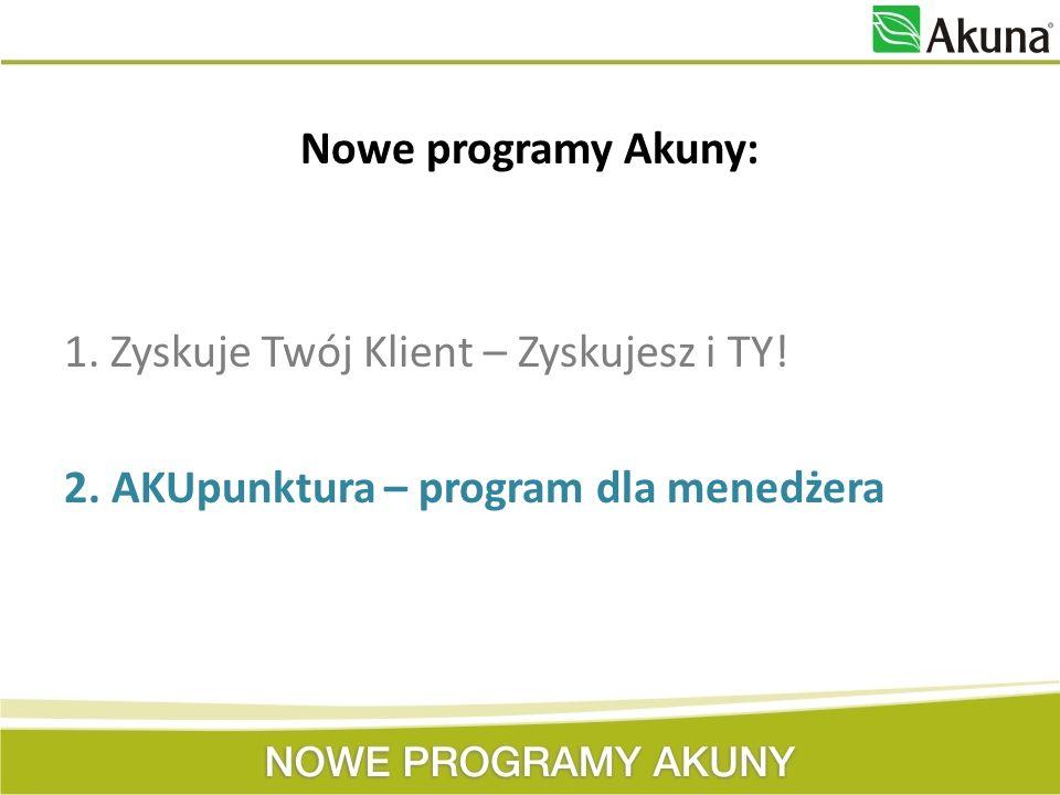 AKUpunktura – program dla menedżera Program przeznaczony jest dla każdego menedżera firmy Akuna.