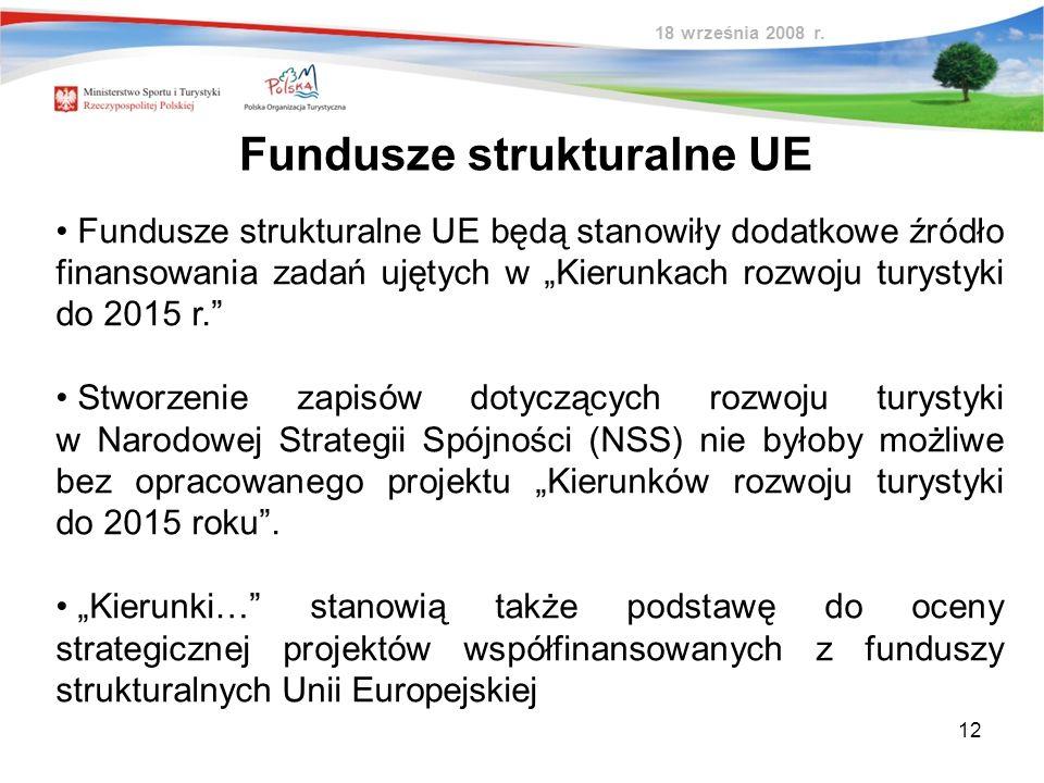 12 Fundusze strukturalne UE Fundusze strukturalne UE będą stanowiły dodatkowe źródło finansowania zadań ujętych w Kierunkach rozwoju turystyki do 2015