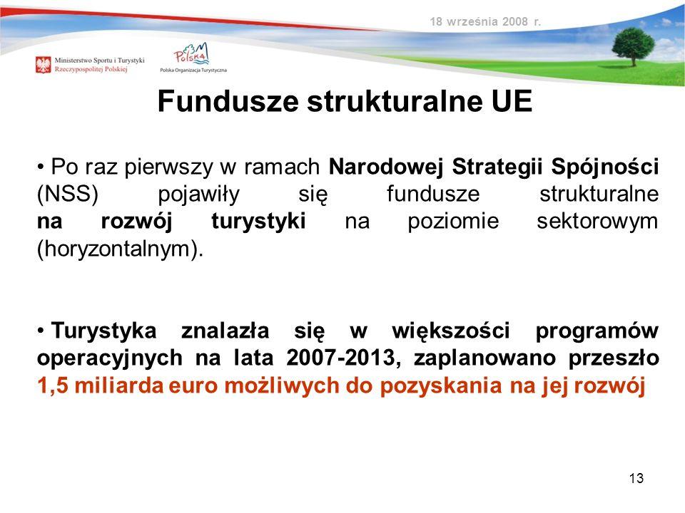 13 Fundusze strukturalne UE Po raz pierwszy w ramach Narodowej Strategii Spójności (NSS) pojawiły się fundusze strukturalne na rozwój turystyki na poz