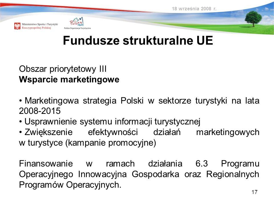 17 Obszar priorytetowy III Wsparcie marketingowe Marketingowa strategia Polski w sektorze turystyki na lata 2008-2015 Usprawnienie systemu informacji