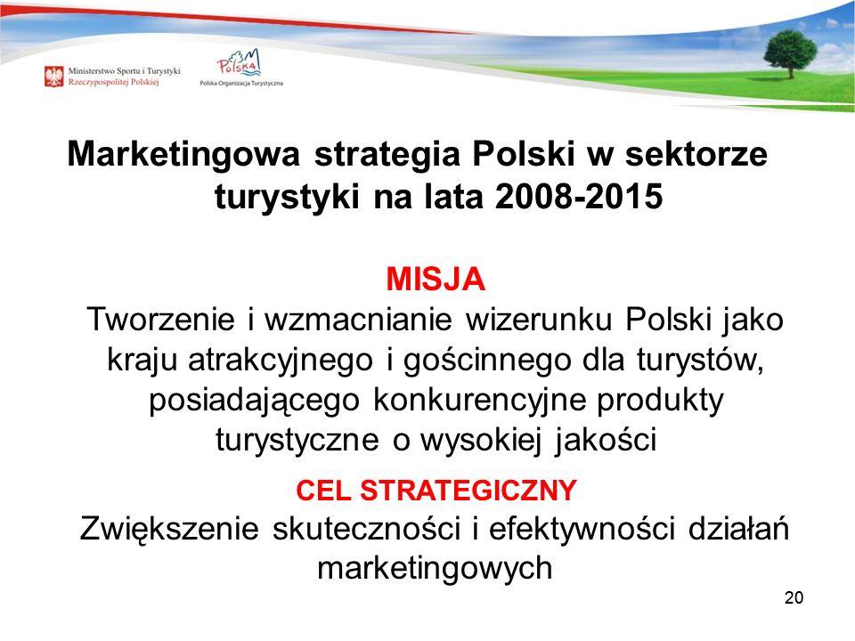 20 MISJA Tworzenie i wzmacnianie wizerunku Polski jako kraju atrakcyjnego i gościnnego dla turystów, posiadającego konkurencyjne produkty turystyczne