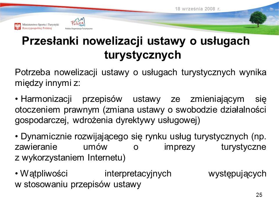 25 Przesłanki nowelizacji ustawy o usługach turystycznych 18 września 2008 r. Potrzeba nowelizacji ustawy o usługach turystycznych wynika między innym