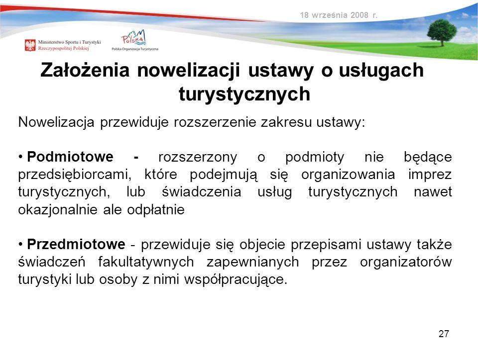 27 Nowelizacja przewiduje rozszerzenie zakresu ustawy: Podmiotowe - rozszerzony o podmioty nie będące przedsiębiorcami, które podejmują się organizowa
