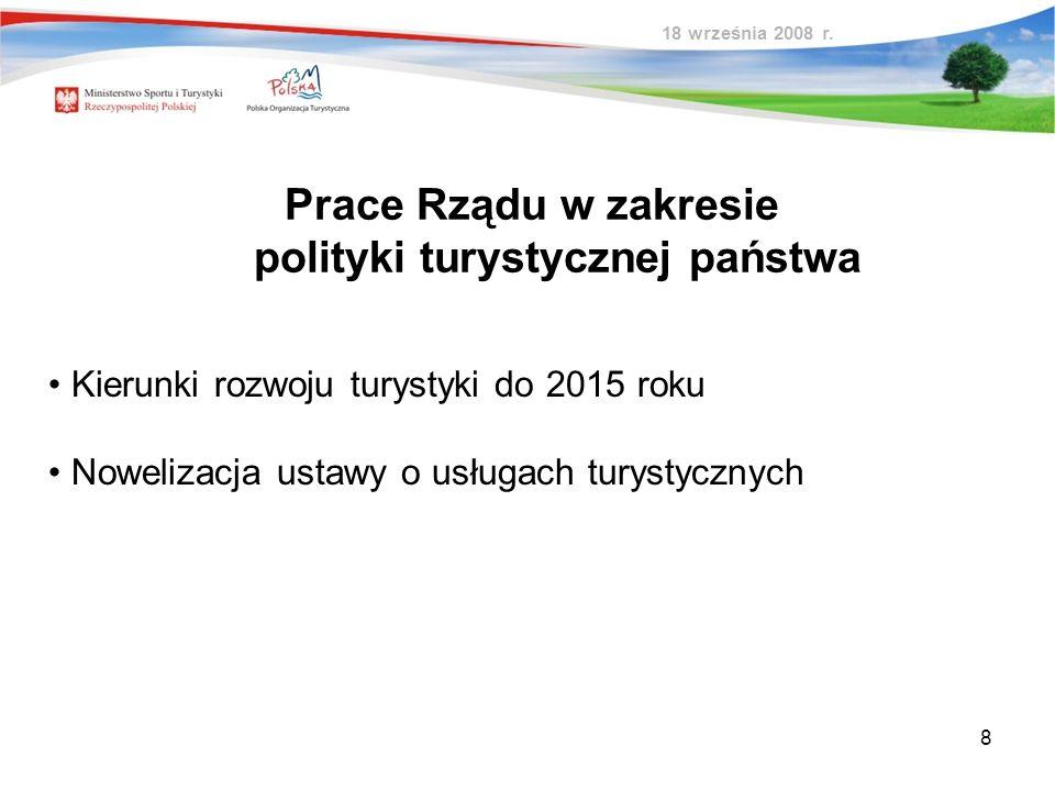 8 Prace Rządu w zakresie polityki turystycznej państwa Kierunki rozwoju turystyki do 2015 roku Nowelizacja ustawy o usługach turystycznych 18 września