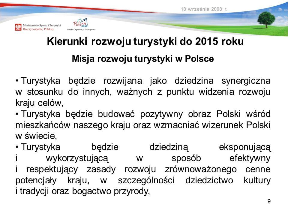 9 Kierunki rozwoju turystyki do 2015 roku Misja rozwoju turystyki w Polsce Turystyka będzie rozwijana jako dziedzina synergiczna w stosunku do innych,