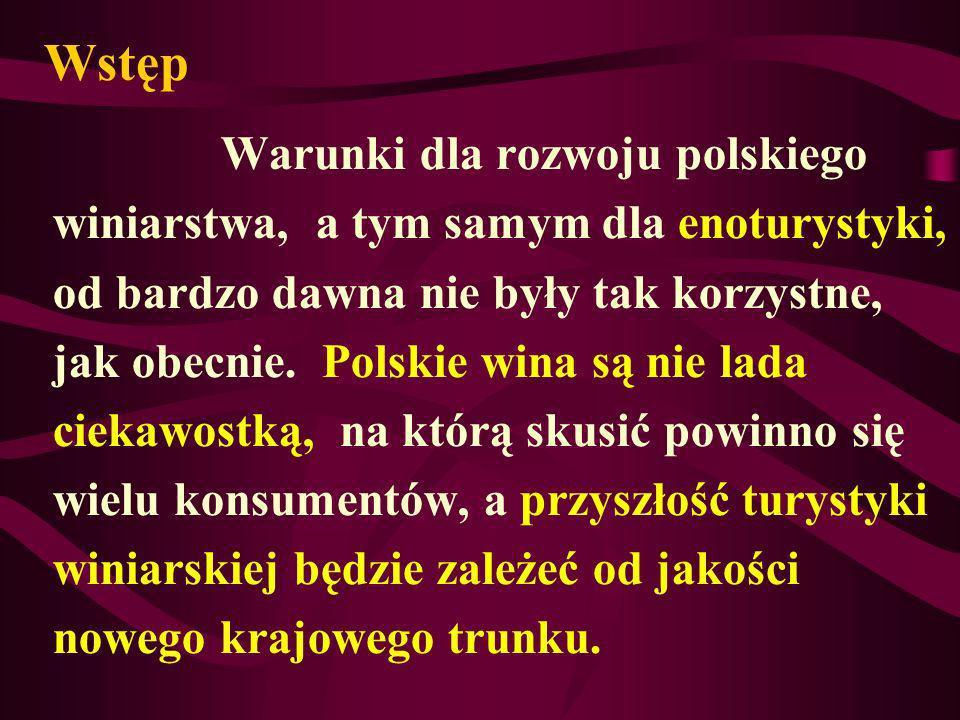 Wstęp Warunki dla rozwoju polskiego winiarstwa, a tym samym dla enoturystyki, od bardzo dawna nie były tak korzystne, jak obecnie. Polskie wina są nie