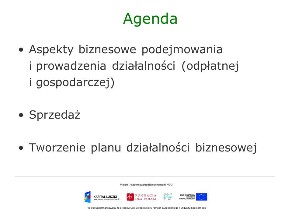Agenda Aspekty biznesowe podejmowania i prowadzenia działalności (odpłatnej i gospodarczej) Sprzedaż Tworzenie planu działalności biznesowej