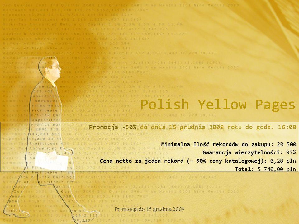 Polish Yellow Pages Promocja -50% do dnia 15 grudnia 2009 roku do godz.