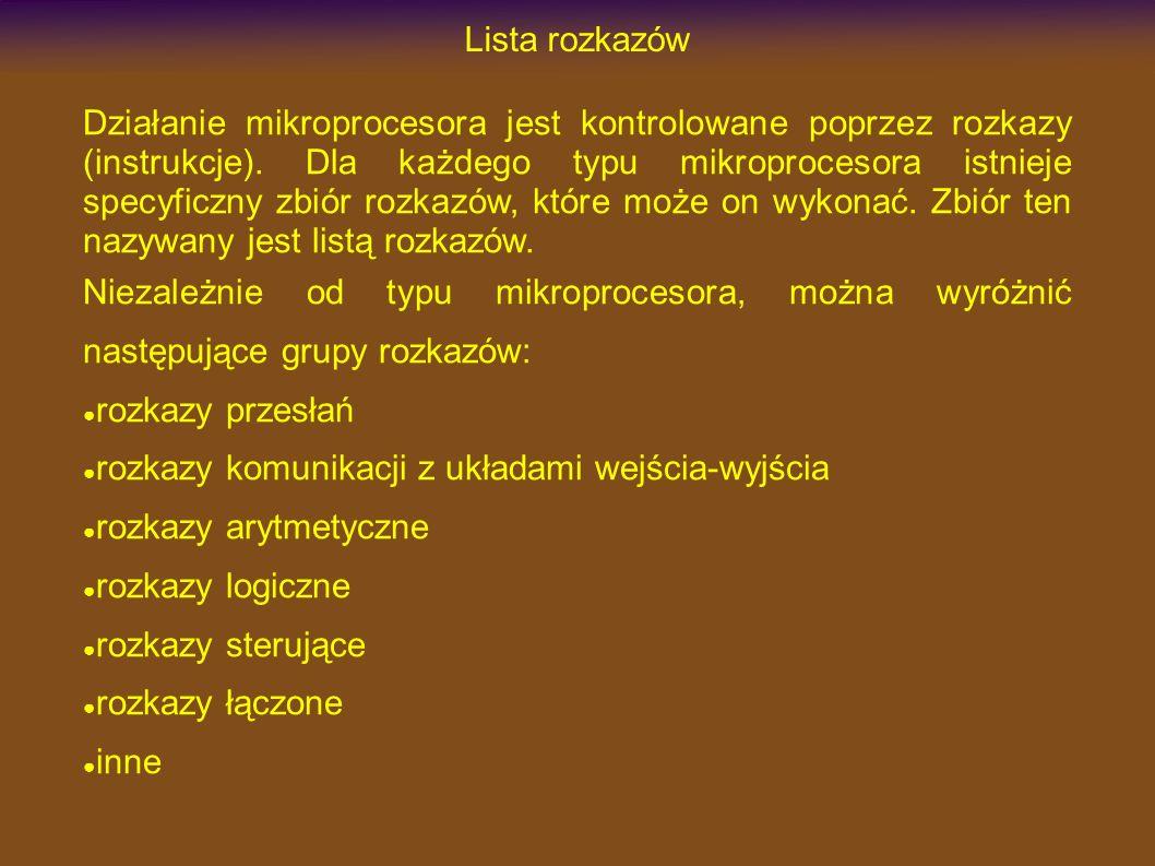 Lista rozkazów Działanie mikroprocesora jest kontrolowane poprzez rozkazy (instrukcje).