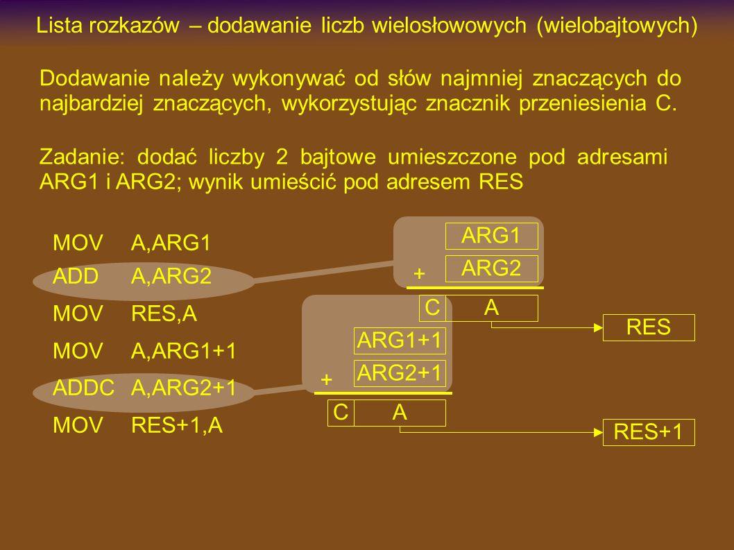 MOVA,ARG1 ADDA,ARG2 MOVRES,A MOVA,ARG1+1 ADDCA,ARG2+1 MOVRES+1,A Lista rozkazów – dodawanie liczb wielosłowowych (wielobajtowych) Dodawanie należy wykonywać od słów najmniej znaczących do najbardziej znaczących, wykorzystując znacznik przeniesienia C.