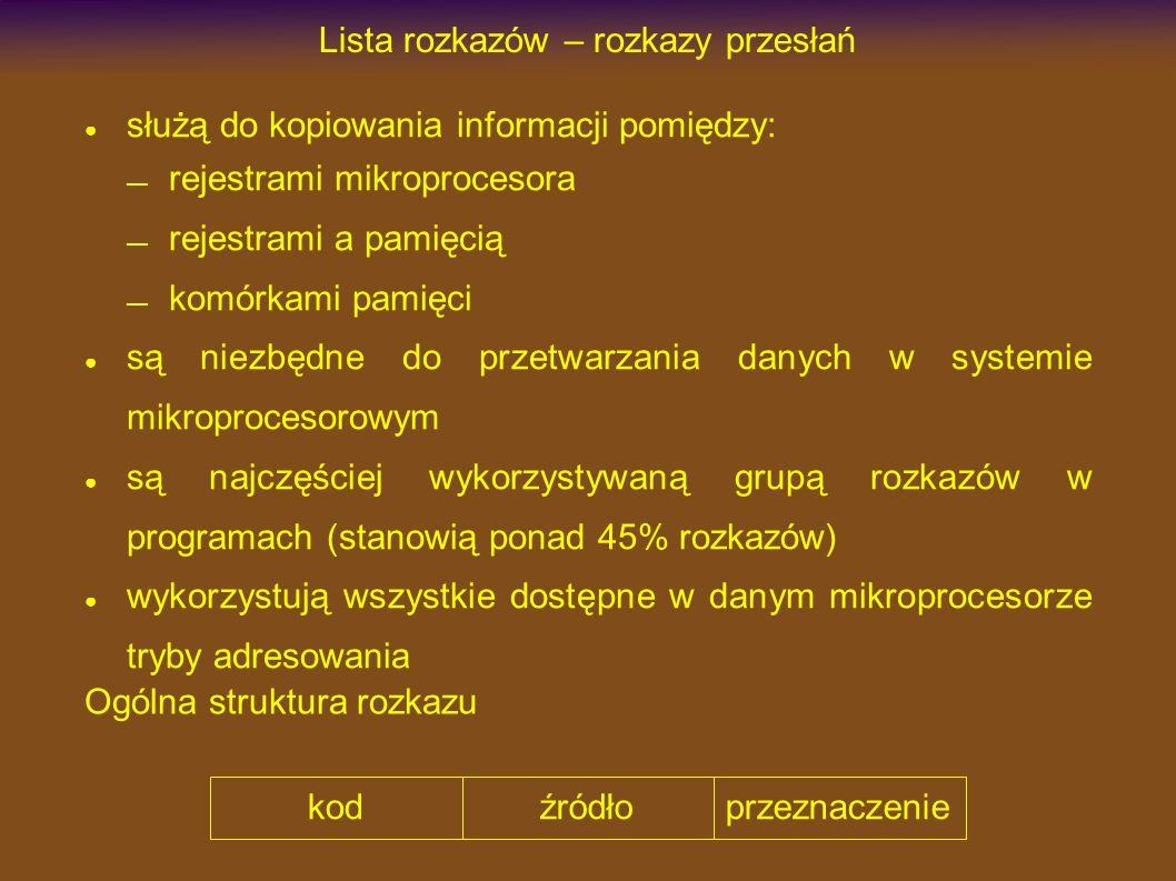 Lista rozkazów – rozkazy przesłań służą do kopiowania informacji pomiędzy: rejestrami mikroprocesora rejestrami a pamięcią komórkami pamięci są niezbędne do przetwarzania danych w systemie mikroprocesorowym są najczęściej wykorzystywaną grupą rozkazów w programach (stanowią ponad 45% rozkazów) wykorzystują wszystkie dostępne w danym mikroprocesorze tryby adresowania kodźródłoprzeznaczenie Ogólna struktura rozkazu