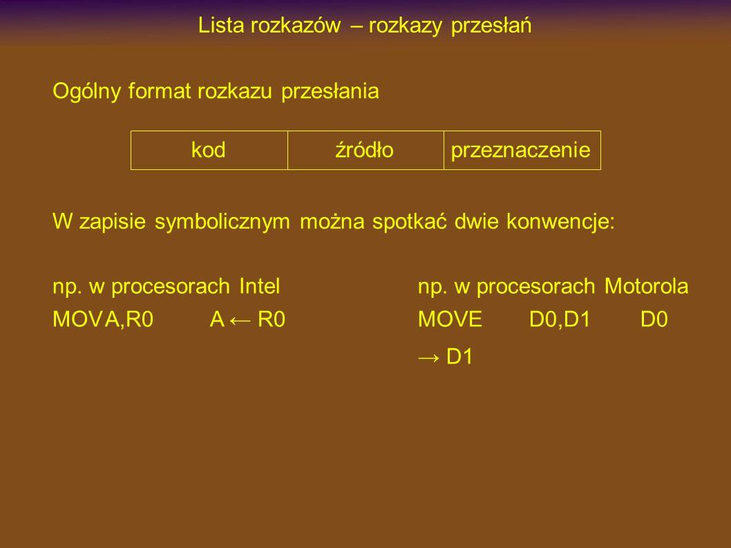 Lista rozkazów – rozkazy przesłań kodźródłoprzeznaczenie Ogólny format rozkazu przesłania W zapisie symbolicznym można spotkać dwie konwencje: np. w p