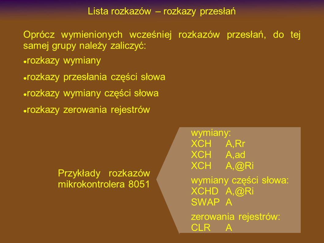 Lista rozkazów – rozkazy przesłań Oprócz wymienionych wcześniej rozkazów przesłań, do tej samej grupy należy zaliczyć: rozkazy wymiany rozkazy przesłania części słowa rozkazy wymiany części słowa rozkazy zerowania rejestrów wymiany: XCHA,Rr XCHA,ad XCHA,@Ri wymiany części słowa: XCHDA,@Ri SWAPA zerowania rejestrów: CLRA Przykłady rozkazów mikrokontrolera 8051