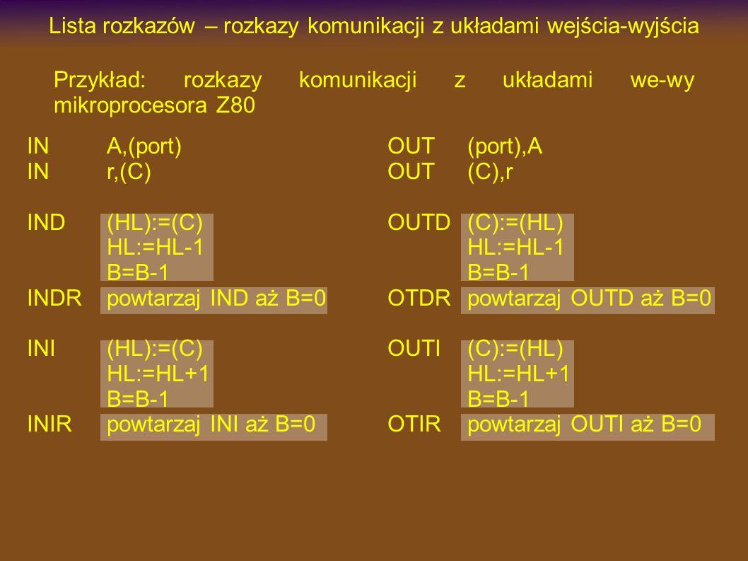 OUT(port),A OUT(C),r OUTD(C):=(HL) HL:=HL-1 B=B-1 OTDRpowtarzaj OUTD aż B=0 OUTI(C):=(HL) HL:=HL+1 B=B-1 OTIRpowtarzaj OUTI aż B=0 Lista rozkazów – rozkazy komunikacji z układami wejścia-wyjścia INA,(port) INr,(C) IND(HL):=(C) HL:=HL-1 B=B-1 INDRpowtarzaj IND aż B=0 INI(HL):=(C) HL:=HL+1 B=B-1 INIRpowtarzaj INI aż B=0 Przykład: rozkazy komunikacji z układami we-wy mikroprocesora Z80