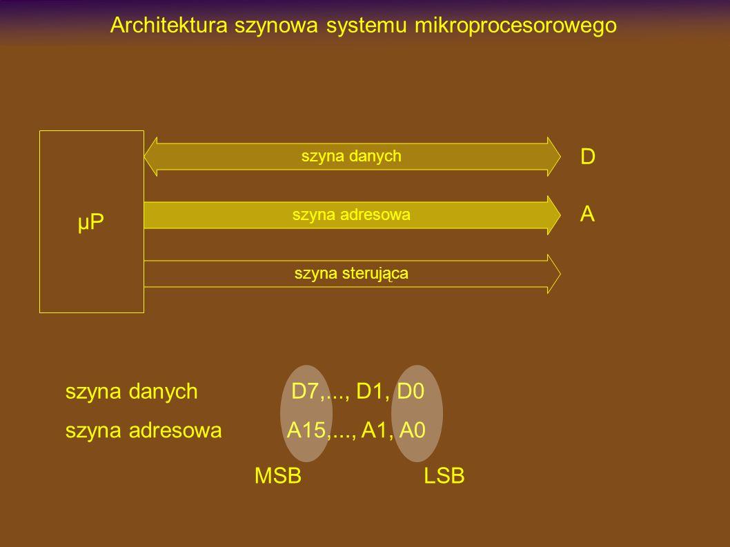 Architektura szynowa systemu mikroprocesorowego szyna danych szyna sterująca szyna adresowa µP szyna danych szyna adresowa D7,..., D1, D0 A15,..., A1, A0 MSBLSB D A