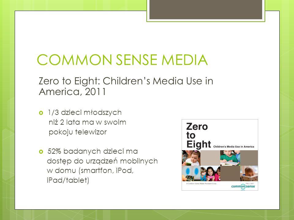 COMMON SENSE MEDIA Zero to Eight: Childrens Media Use in America, 2011 1/3 dzieci młodszych niż 2 lata ma w swoim pokoju telewizor 52% badanych dzieci