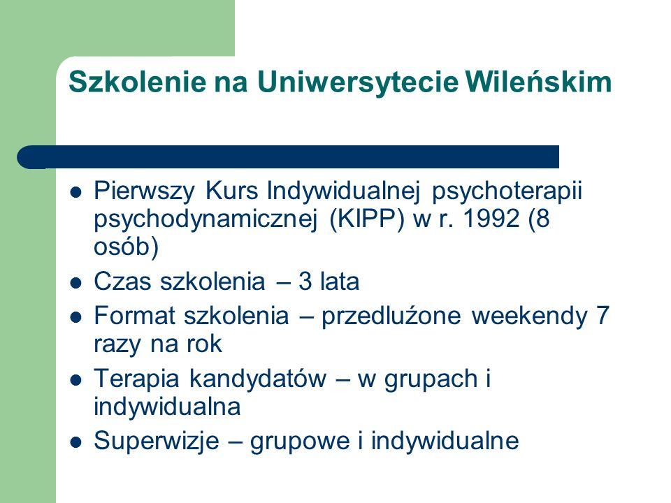 Szkolenie na Uniwersytecie Wileńskim Pierwszy Kurs Indywidualnej psychoterapii psychodynamicznej (KIPP) w r. 1992 (8 osób) Czas szkolenia – 3 lata For