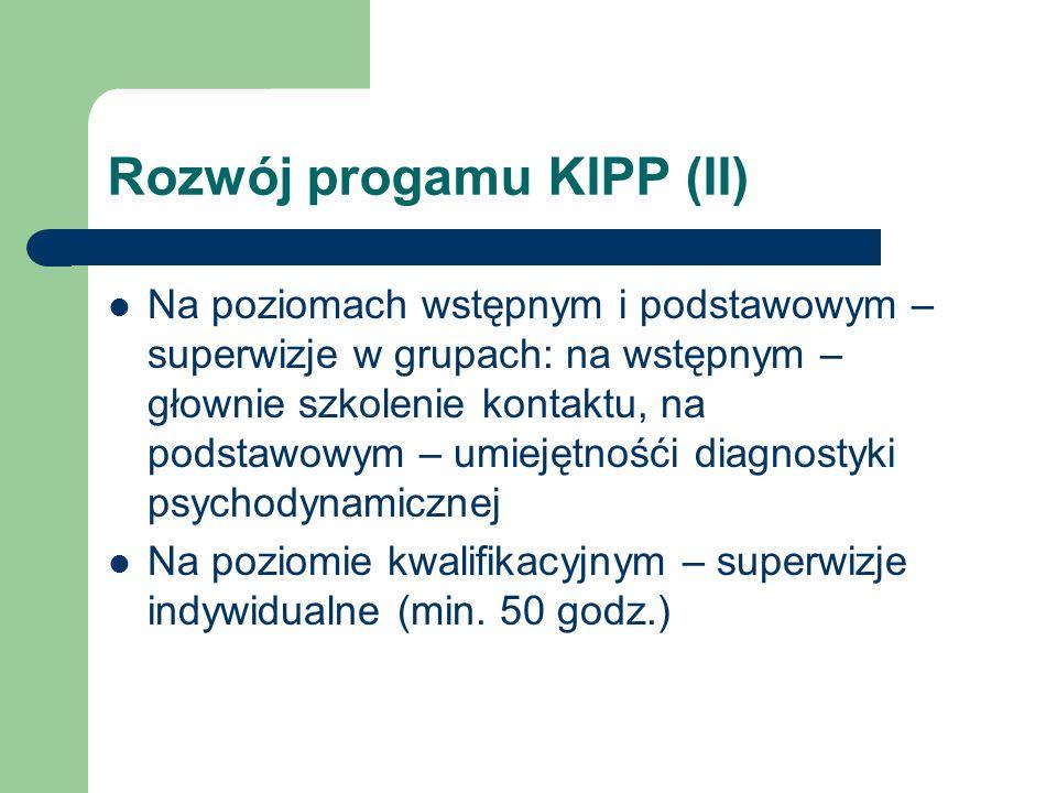 Rozwój progamu KIPP (II) Na poziomach wstępnym i podstawowym – superwizje w grupach: na wstępnym – głownie szkolenie kontaktu, na podstawowym – umieję