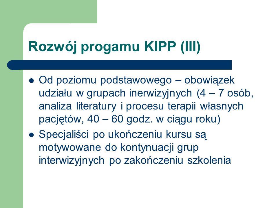 Rozwój progamu KIPP (III) Od poziomu podstawowego – obowiązek udziału w grupach inerwizyjnych (4 – 7 osób, analiza literatury i procesu terapii własny