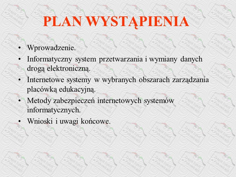 Włodzimierz Olszewski Zdzisław Pólkowski INTERNETOWE SYSTEMY INFORMATYCZNE WSPOMAGAJĄCE ZARZĄDZANIE PLACÓWKĄ EDUKACYJNĄ Zespół Szkół w Polkowicach zs@