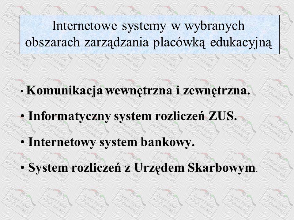 Internetowe systemy w wybranych obszarach zarządzania placówką edukacyjną Komunikacja wewnętrzna i zewnętrzna.