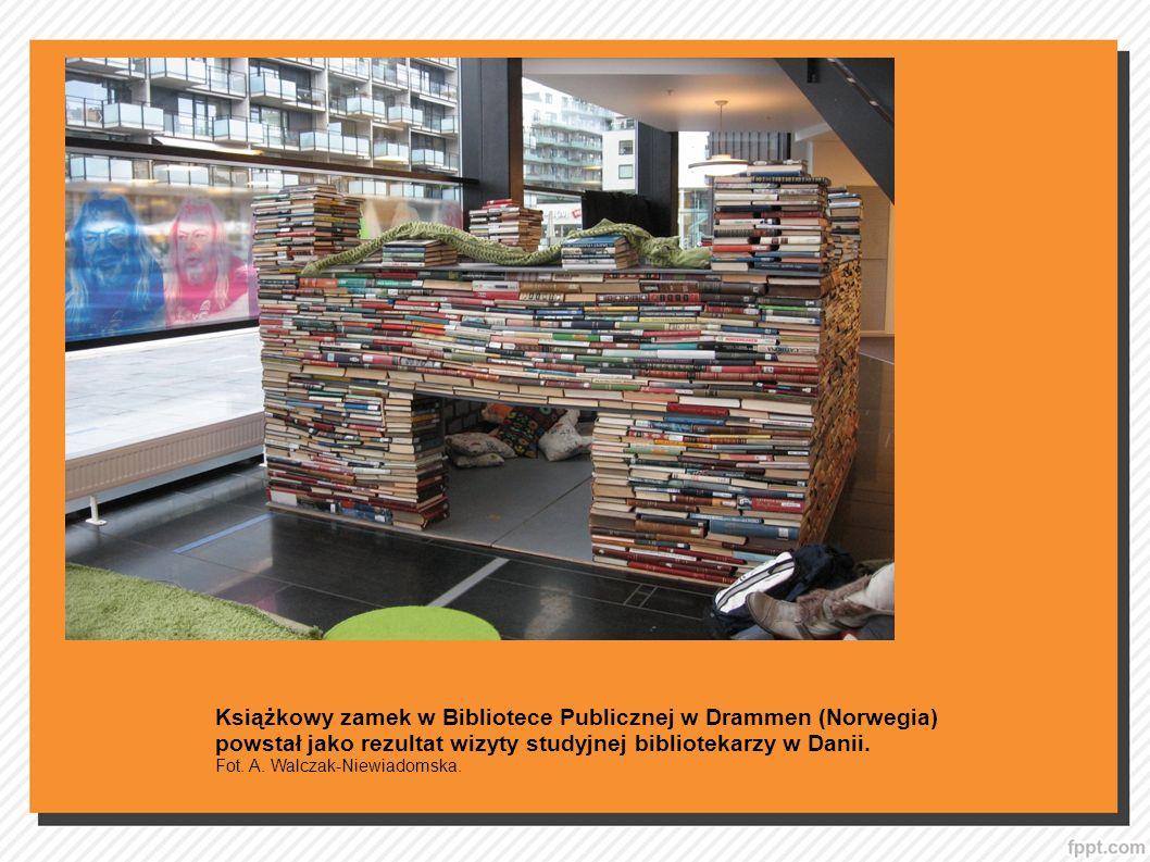 Książkowy zamek w Bibliotece Publicznej w Drammen (Norwegia) powstał jako rezultat wizyty studyjnej bibliotekarzy w Danii. Fot. A. Walczak-Niewiadomsk