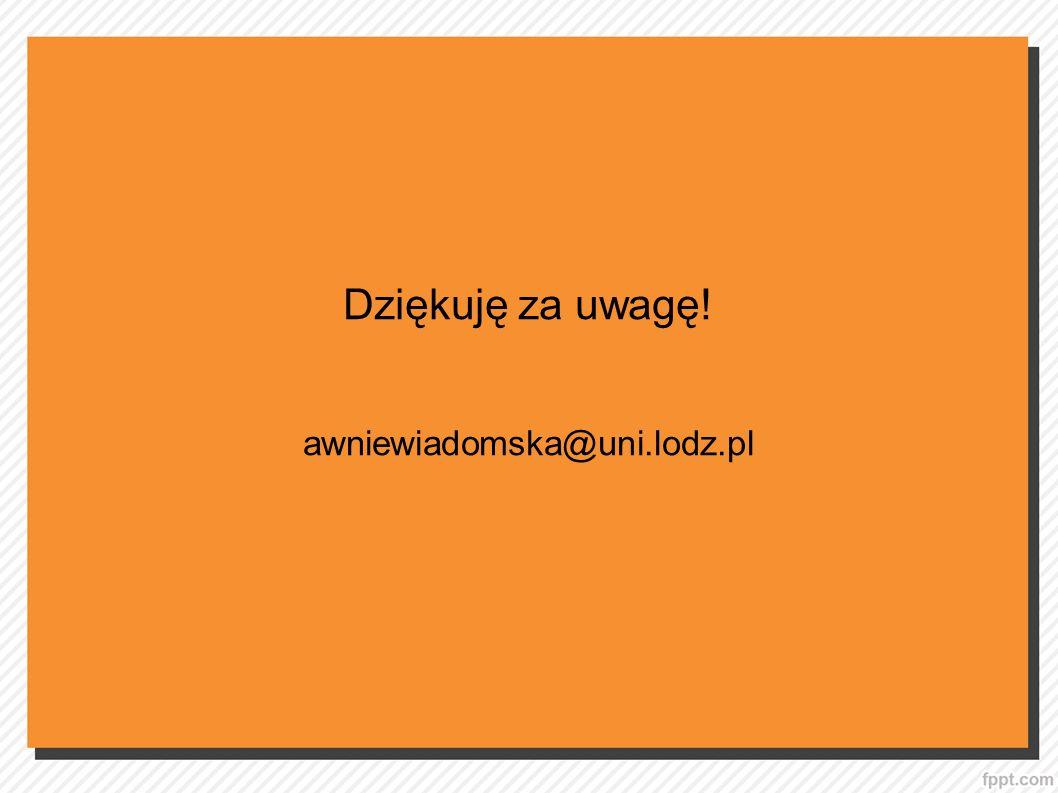 Dziękuję za uwagę! awniewiadomska@uni.lodz.pl