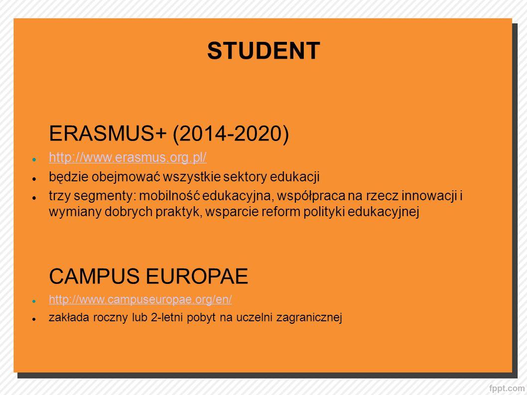 STUDENT ERASMUS+ (2014-2020) http://www.erasmus.org.pl/ będzie obejmować wszystkie sektory edukacji trzy segmenty: mobilność edukacyjna, współpraca na