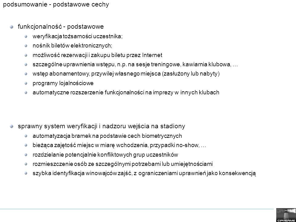 podsumowanie - podstawowe cechy funkcjonalność - podstawowe weryfikacja tożsamości uczestnika; nośnik biletów elektronicznych; możliwość rezerwacji i