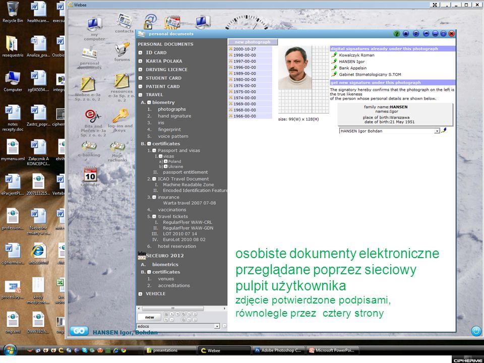 osobiste dokumenty elektroniczne przeglądane poprzez sieciowy pulpit użytkownika zdjęcie potwierdzone podpisami, równolegle przez cztery strony