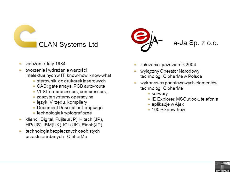 CLAN Systems Ltd a-Ja Sp. z o.o. założenie: luty 1984 tworzenie i wdrażanie wartości intelektualnych w IT: know-how, know-what sterowniki do drukarek