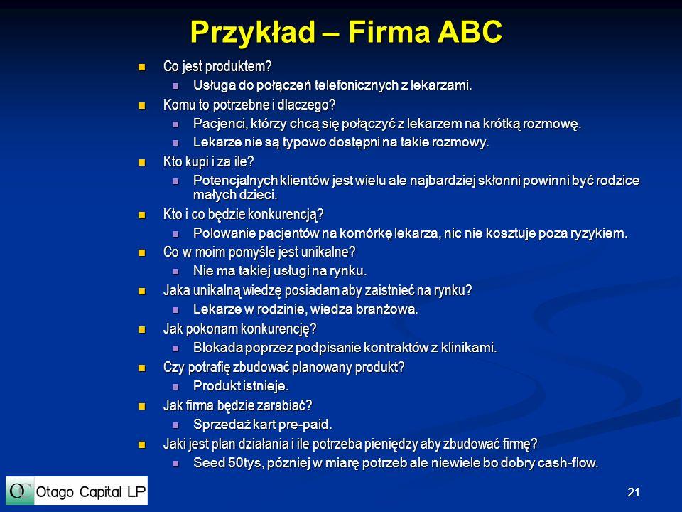 21 Przykład – Firma ABC Co jest produktem? Co jest produktem? Usługa do połączeń telefonicznych z lekarzami. Usługa do połączeń telefonicznych z lekar