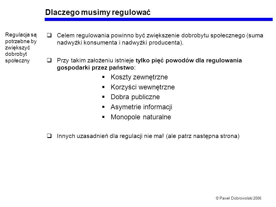 © Paweł Dobrowolski 2006 Dlaczego musimy regulować Celem regulowania powinno być zwiększenie dobrobytu społecznego (suma nadwyżki konsumenta i nadwyżki producenta).