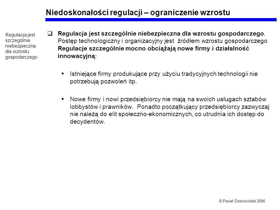© Paweł Dobrowolski 2006 Niedoskonałości regulacji – ograniczenie wzrostu Regulacja jest szczególnie niebezpieczna dla wzrostu gospodarczego. Postęp t