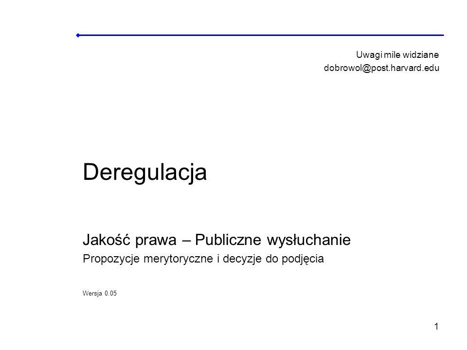 42 Bibliografia Lista publikacji wykorzystanych przy przygotowaniu prezentacji w podtemacie Deregulacja – Jakość prawa – Publiczne Wysłuchanie: European Governance a White Paper, Commission of the European Communities, 25.7.2001 Consolidate Version of the Treaty on European Union Official Journal of the European Union, C 325/5, 24.12.2002.