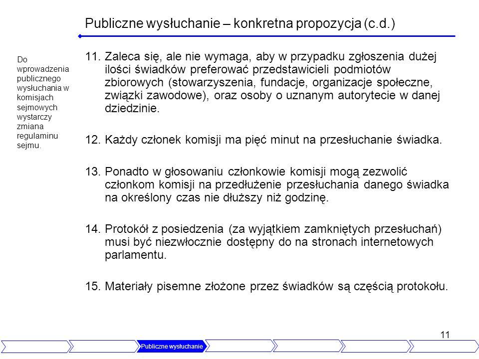 11 Publiczne wysłuchanie – konkretna propozycja (c.d.) 11.Zaleca się, ale nie wymaga, aby w przypadku zgłoszenia dużej ilości świadków preferować prze