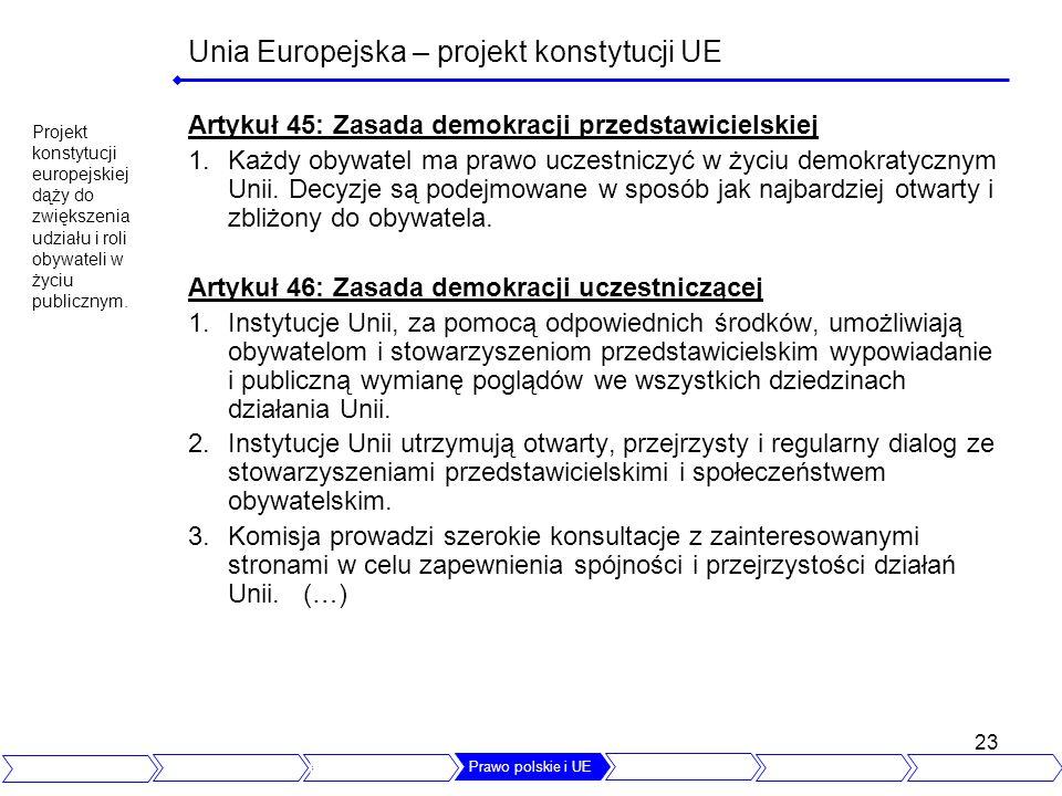 23 Unia Europejska – projekt konstytucji UE Artykuł 45: Zasada demokracji przedstawicielskiej 1.Każdy obywatel ma prawo uczestniczyć w życiu demokraty
