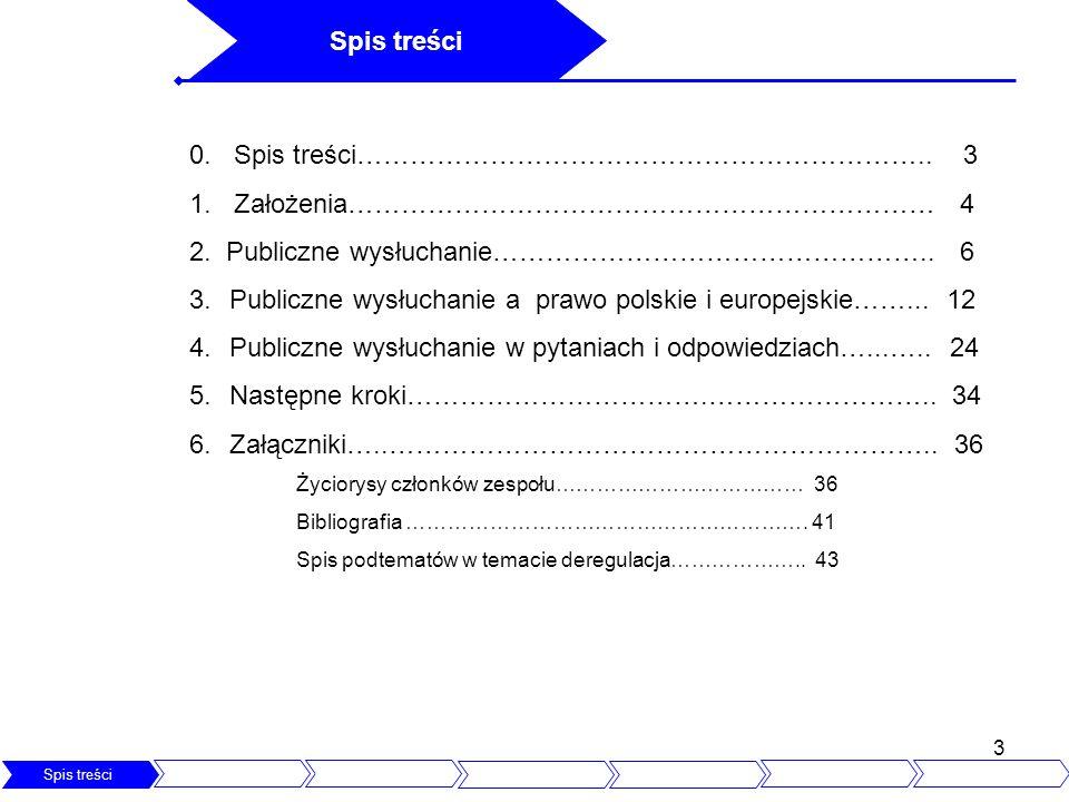 3 Spis treści Założenia Publiczne wysłuchanie Prawo polskie i UE Pytani i Odpowiedzi Następne kroki 0. Spis treści……………………………………………………….. 3 1. Założen