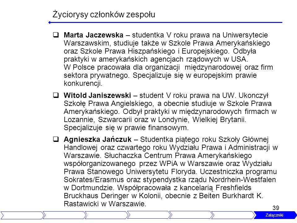 39 Życiorysy członków zespołu Marta Jaczewska – studentka V roku prawa na Uniwersytecie Warszawskim, studiuje także w Szkole Prawa Amerykańskiego oraz Szkole Prawa Hiszpańskiego i Europejskiego.