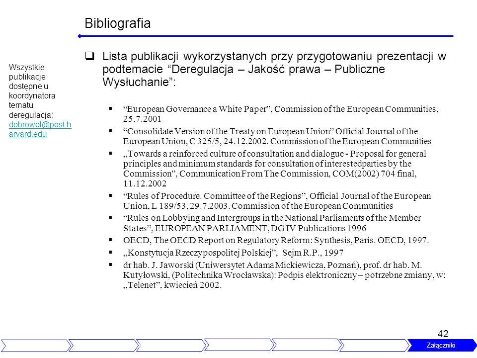 42 Bibliografia Lista publikacji wykorzystanych przy przygotowaniu prezentacji w podtemacie Deregulacja – Jakość prawa – Publiczne Wysłuchanie: Europe