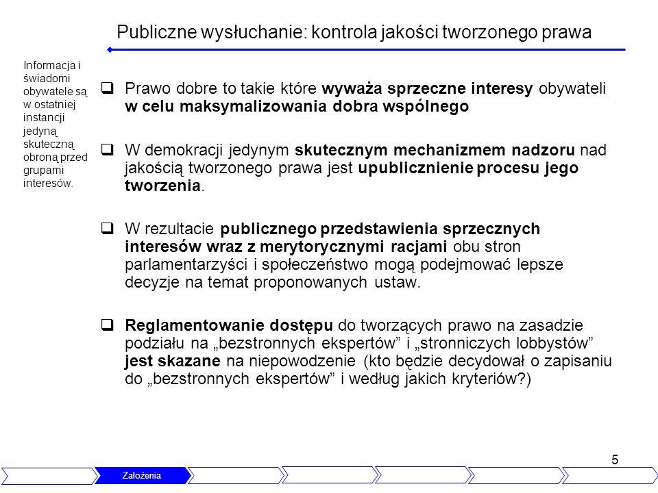 5 Publiczne wysłuchanie: kontrola jakości tworzonego prawa Prawo dobre to takie które wyważa sprzeczne interesy obywateli w celu maksymalizowania dobr