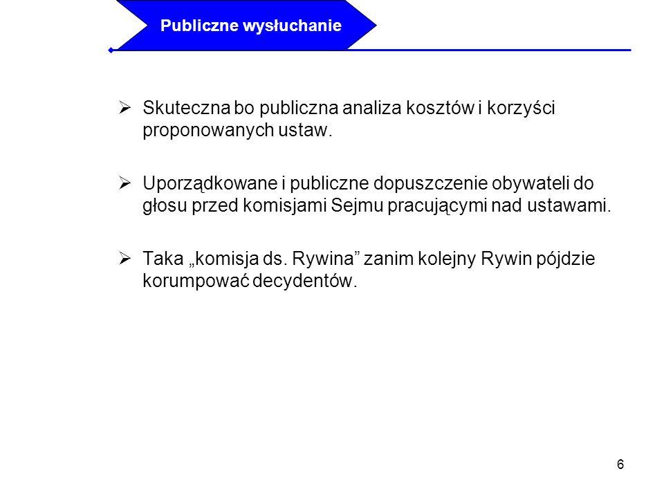 6 Skuteczna bo publiczna analiza kosztów i korzyści proponowanych ustaw. Uporządkowane i publiczne dopuszczenie obywateli do głosu przed komisjami Sej