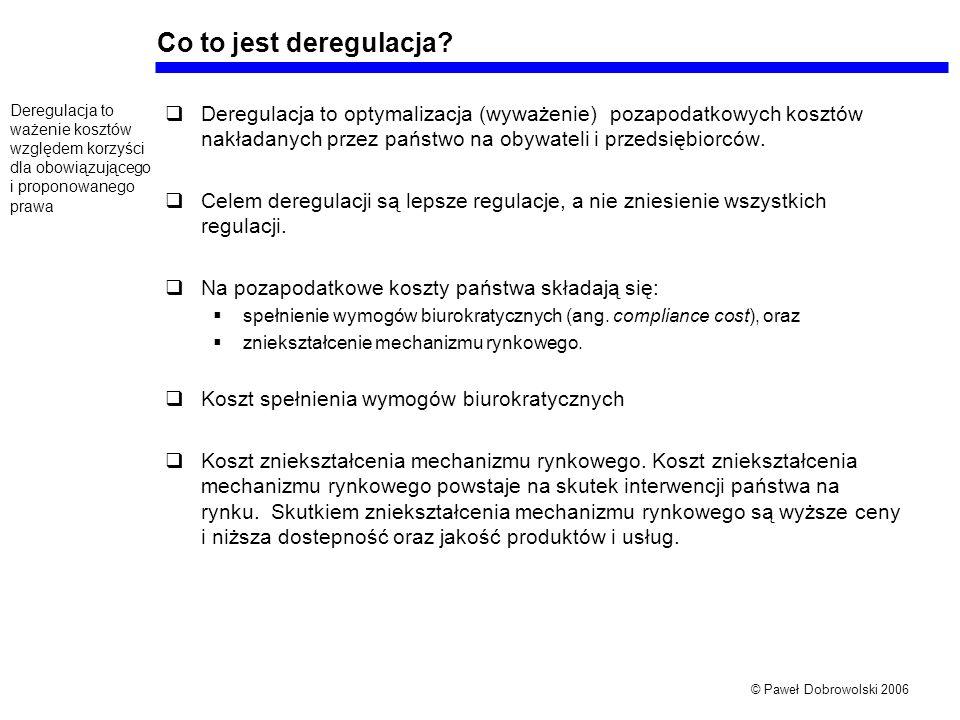© Paweł Dobrowolski 2006 Co to jest deregulacja.