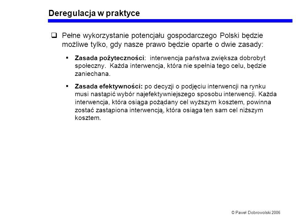 © Paweł Dobrowolski 2006 Deregulacja w praktyce Pełne wykorzystanie potencjału gospodarczego Polski będzie możliwe tylko, gdy nasze prawo będzie oparte o dwie zasady: Zasada pożyteczności: interwencja państwa zwiększa dobrobyt społeczny.