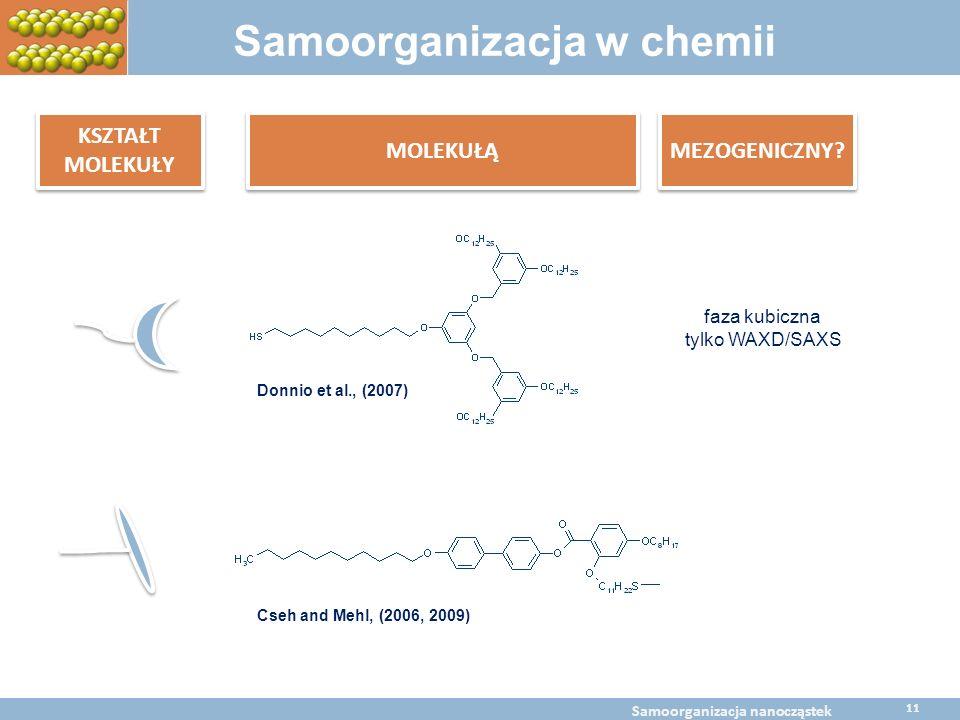 faza kubiczna tylko WAXD/SAXS Cseh and Mehl, (2006, 2009) Donnio et al., (2007) Samoorganizacja w chemii KSZTAŁT MOLEKUŁY MOLEKUŁĄ MEZOGENICZNY? BaltC